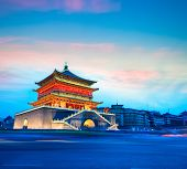 Xian Bell Tower In Nightfall