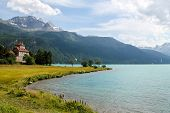 stock photo of engadine  - View at the Lake Silvaplana in Switzerland - JPG