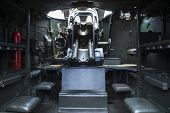 picture of panzer  - Shot of military tank interior with cannon - JPG
