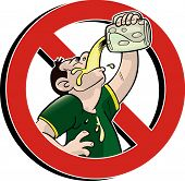 foto of chug  - no drinking red prohibition sign cartoon style - JPG
