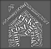 Tag Or Word Cloud Risk And Cost Related In Shape Of House