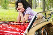 Woman Relay Elbows On Retro Car Cowling