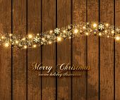 Abstract Christmas Background with Golden Snowflakes, Vintage wooden background, holiday vector