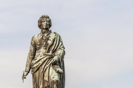 picture of mozart  - Mozart statue on Mozart Square  - JPG