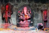 Red Painted Lord Ganesha In Kathmandu During Festival