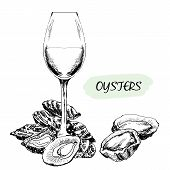 pic of oyster shell  - Oysters and wine glass - JPG
