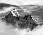 Black And White View Of Ama Dablam With And Beautiful Clouds - Sagarmatha National Park - Khumbu Val