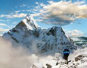 Beautiful View Of Ama Dablam With Tourist And Beautiful Clouds - Sagarmatha National Park - Khumbu V