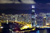 Kowloon peninsula in Hong Kong at night