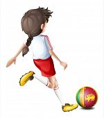 Illustration of a girl playing with the flag of Sri Lanka on a white background