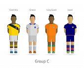 Football teams. Group C - Colombia, Greece, Ivory Coast, Japan