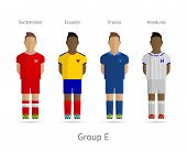 Football teams. Group E - Switzerland, Ecuador, France, Honduras