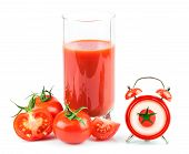 Concept With Tomato Juice, Clock And Tomato