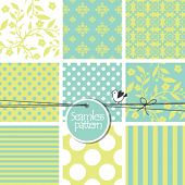 Colorful seamless pattern swatches