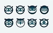 Vector circle based owl head symbol set.