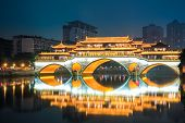 Chengdu Anshun Bridge At Night