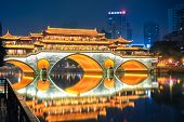 Night View Of  Chengdu Anshun Bridge