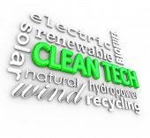 Clean Tech 3D Word Background Renewable Power Energy Business