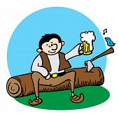 woodcutter resting and drinking beer cartoon illustration