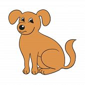 picture of hound dog  - Red cute smiling dog on white background - JPG