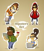 Set hipsters nerds with gadgets and without