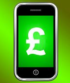 Pound Sign On Phone Shows British Money Gbp