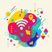 Wi Fi On Abstract Colorful Spotted Background With Different Ele