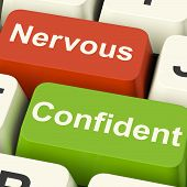 Nervous Confident Keys Shows Nerves Or Confidence