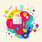 Lock On Abstract Colorful Spotted Background With Different Elem