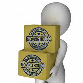 Moving House Boxes Show New Property And Relocation
