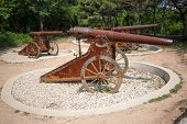 Old cannons on wheels Russian-Japanese war of 1904-1905 in Lushun (Russian name of Port Arthur). East China.