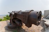 Old Russian cannon era Russian-Japanese War in 1904-1905 Russian fortress in Lyushyun (Russian name
