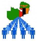 Lines of people with Zambia map flag vector illustration