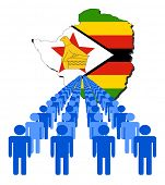 Lines of people with Zimbabwe map flag vector illustration