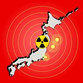 Earthquake radiation and tsunami on Japan island