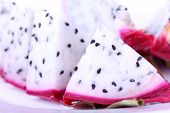Dragon Fruit Cutted On Plate