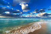 beautiful ocean and sky on the sandy beach