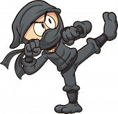Cartoon ninja kicking. Vector clip art illustration with simple gradients. All in a single layer.