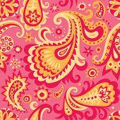 Raster version of vector pink and yellow decorative seamless pattern background with abstract floral ornament