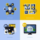 Flat Vector Design With Banking Symbols And Icons