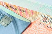 Passport Stamp Visa And Credit Card For Travel Concept Background, Australia