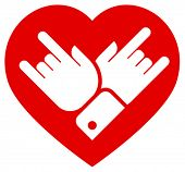Rock in heart vector icon