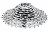 Mountain bike 9-speed cassette on white background