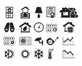 Energo efficient  smart house icons set / BW
