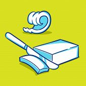 pic of margarine  - Vector illustration of a butter block and curls with a knife - JPG