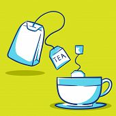 stock photo of tea bag  - Vector illustration of a tea cup and tea bag - JPG