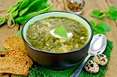 stock photo of sorrel  - Green soup of sorrel nettle and spinach in a bowl spoon bread pepper quail eggs on a wooden board - JPG