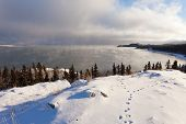 Lake Laberge Yukon Ice Fogs Before Freezing Over