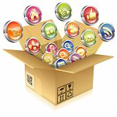 Cardboard Box With Set Of Icons