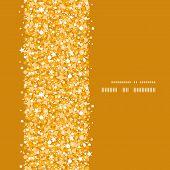 Vector golden shiny glitter texture vertical frame seamless pattern background